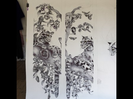 Shot of a commissioned artwork titled 'Eden' biro, ink and watercolour on paper. Each panel measures 170cm x 40cm