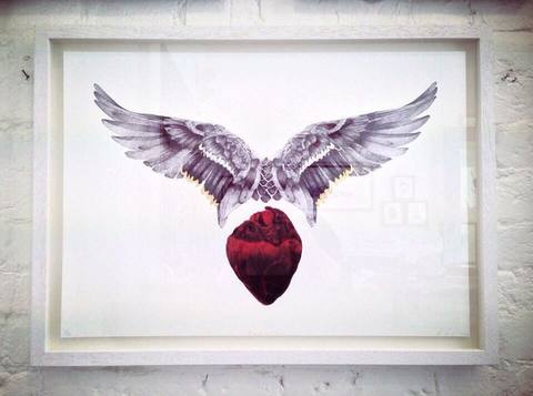 Framed float mount 'Head & Heart' another exclusive to Art Car Boot Fair 2014' Exclusive edition sold out